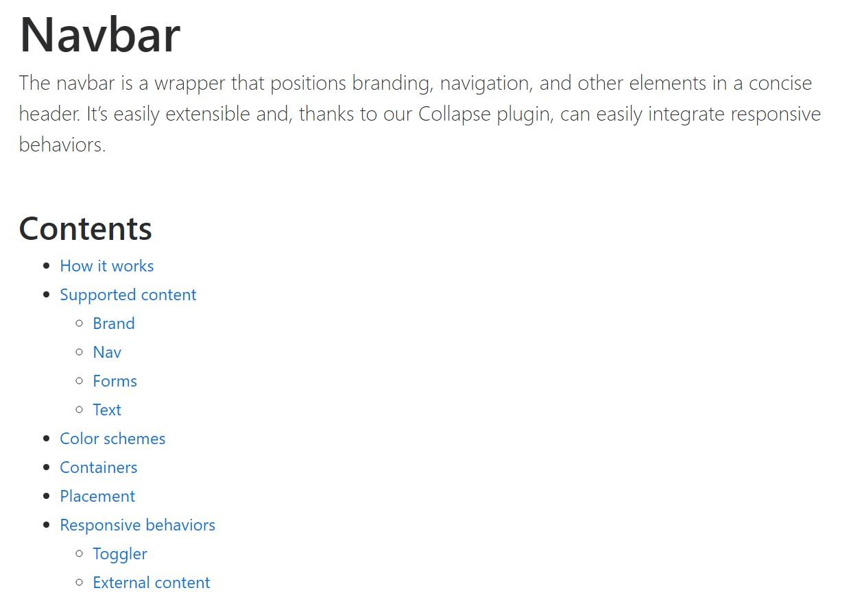 Bootstrap Navbar  approved documentation