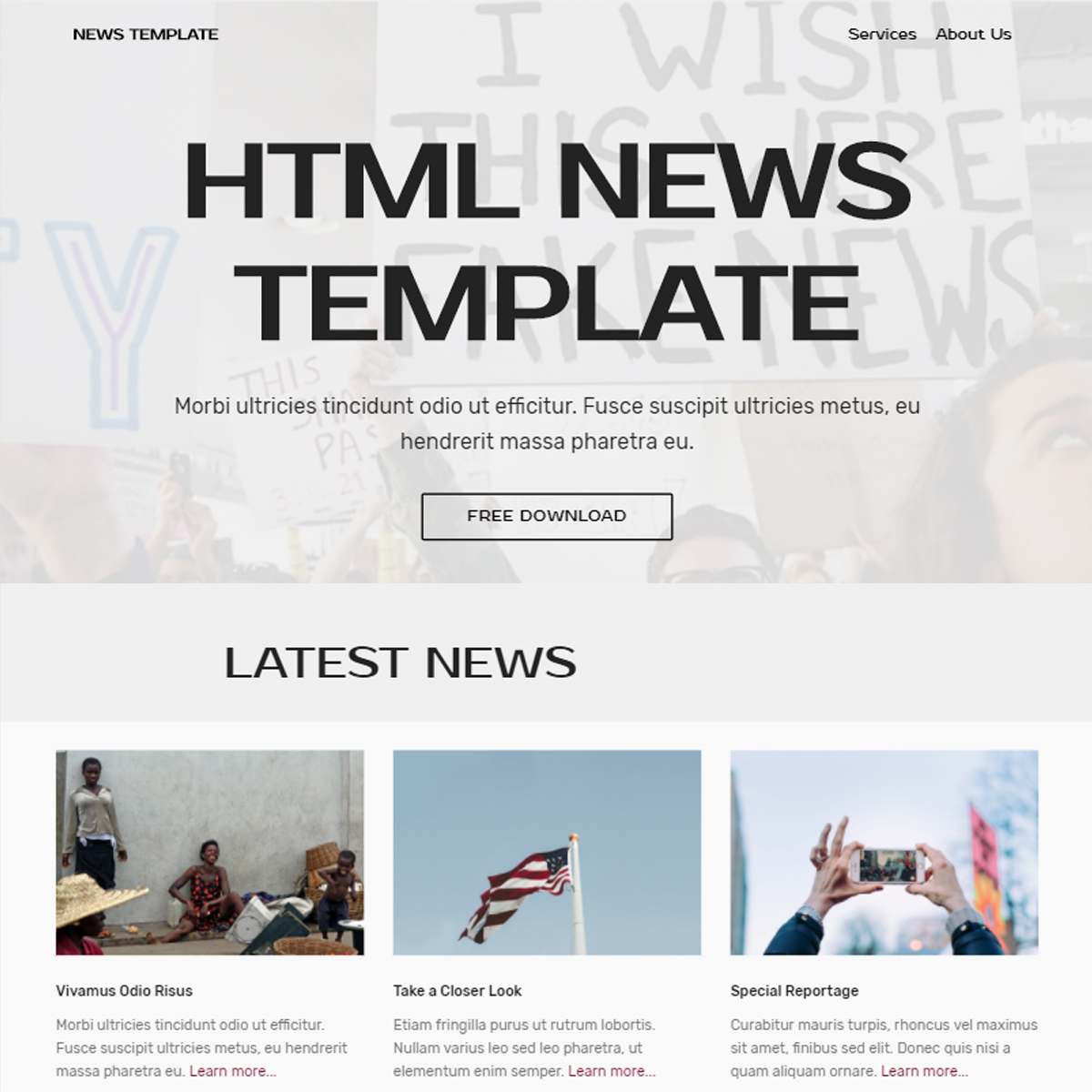 CSS3 Bootstrap News Themes